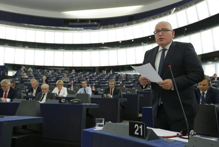 European Commission First Vice-President Frans Timmermans addresses the European Parliement during a debate on recent developments in Poland and their impact on fundamental rights as laid down in the Charter of Fundamental Rights of the European Union, in Strasbourg, France, September 13, 2016.   REUTERS/Vincent Kessler
