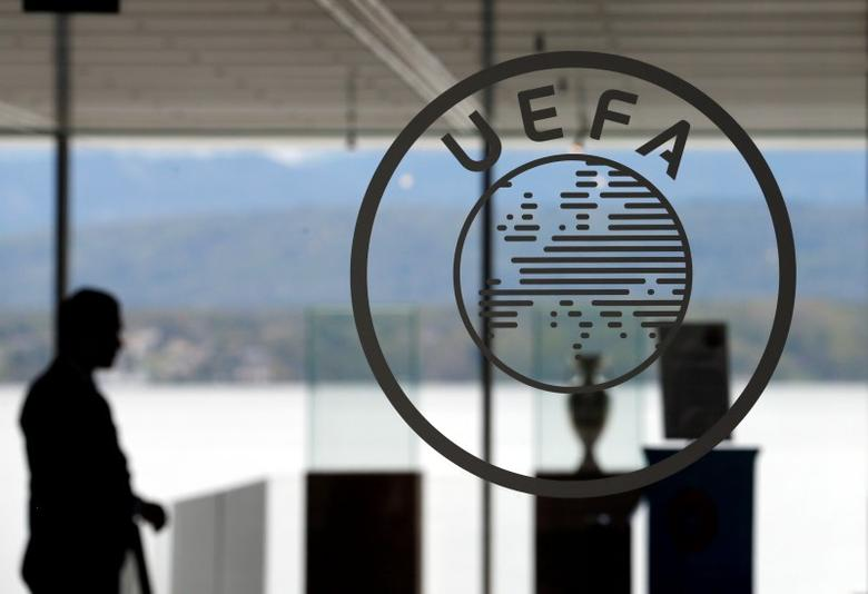 A logo is pictured on UEFA headquarters in Nyon, Switzerland, April 15, 2016.  REUTERS/Denis Balibouse - RTX2A49I