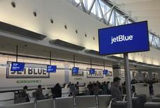 The check-in area of JetBlue Airways is seen at John F. Kennedy Airport in the Queens borough of New York January 14, 2016. REUTERS/Shannon Stapleton