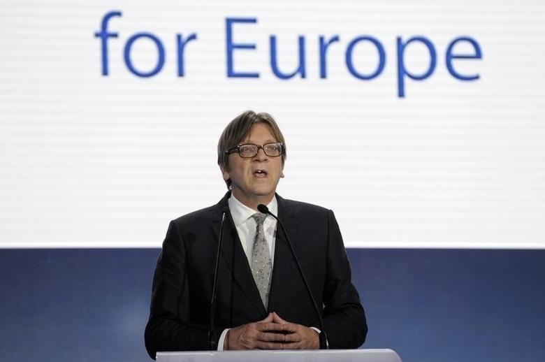 Guy Verhofstadt speaks on provisional results for the European Parliament elections at the European Parliament in Brussels May 25, 2014.  REUTERS/Eric Vidal