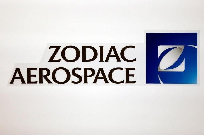 The logo of French aircraft seats and equipment manufacturer Zodiac Aerospace is seen during the company's first half of the 2015/2016 fiscal year presentation in Paris, France, April 20, 2016.  REUTERS/Benoit Tessier