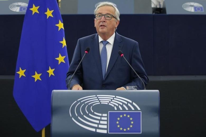 European Commission President Jean-Claude Juncker addresses the European Parliament during a debate on The State of the European Union in Strasbourg, France, September 14, 2016.   REUTERS/Vincent Kessler