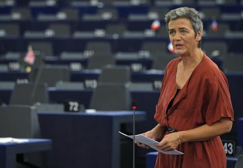 European Commissioner for Violation of EU Treaties Margrethe Vestager addresses the European Parliament in Strasbourg, France, during a debate on Ireland's tax dealings with Apple Inc, September 14, 2016.   REUTERS/Vincent Kessler