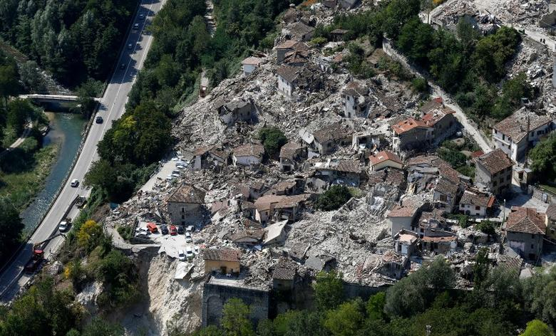 A general view after earthquake that levelled the town in Pescara del Tronto, central Italy, September 1, 2016. REUTERS/Stefano Rellandini
