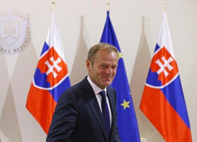 9月15日、EUトゥスク大統領はEU首脳会議を前に、英国の離脱決定を受けてEU内の問題を「極めて率直に」協議し、立て直しに道を開く必要があると呼び掛けた(2016年 ロイター/YVES HERMAN)