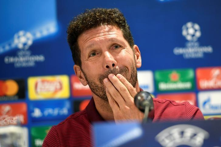 Football Soccer - Atletico Madrid news conference - Champions League - Eindhoven, Netherlands - 12/9/16. Atletico Madrid's head coach Diego Simeone attends a news conference. REUTERS/United Photos/Toussaint Kluiters