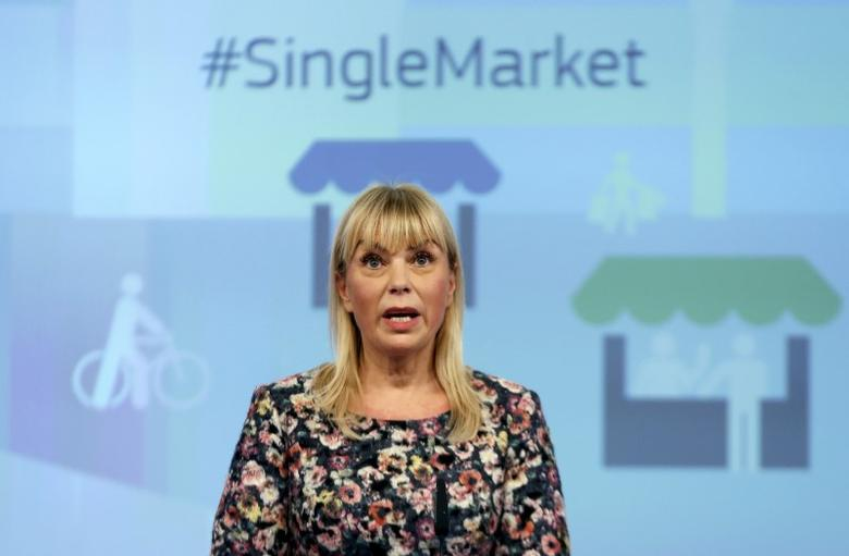 European Commissioner for Internal Market, Industry, Entrepreneurship and SMEs Elzbieta Bienkowska addresses a news conference on the Single Market Strategy at the EU Commission headquarters in Brussels, Belgium, October 28, 2015. REUTERS/Francois Lenoir