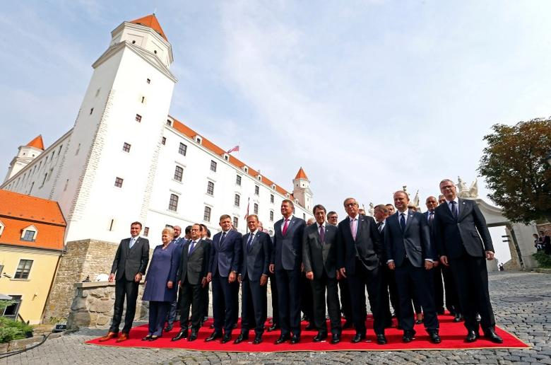 European leaders pose for a family photo during a European Union summit - the first one since Britain voted to quit - at the Bratislava's castle in Bratislava, Slovakia, September 16, 2016.  REUTERS/Yves Herman