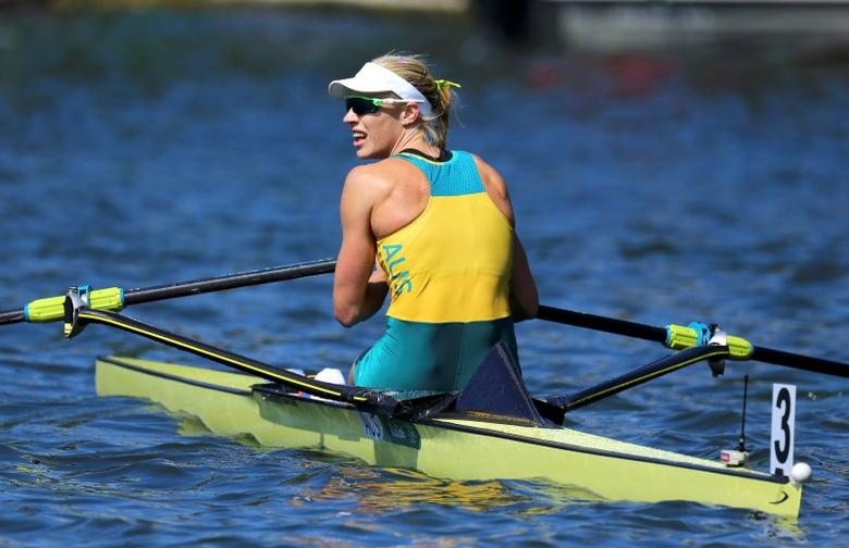 2016 Rio Olympics - Rowing - Final - Women's Single Sculls Final A - Lagoa Stadium - Rio De Janeiro, Brazil - 13/08/2016. Gold medalist Kim Brennan (AUS) of Australia looks on after the finish. REUTERS/Murad Sezer