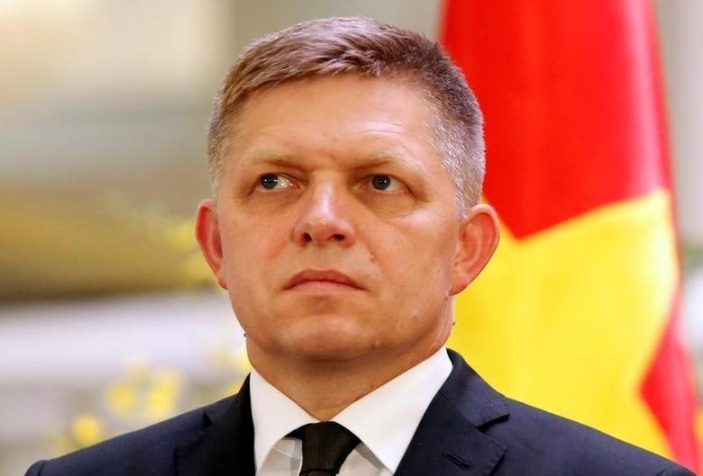 Slovak Prime Minister Robert Fico is seen during a press conference with his Vietnamese counterpart Nguyen Xuan Phuc (unseen) at the Government Office in Hanoi, Vietnam July 18, 2016. REUTERS/Kham/Files
