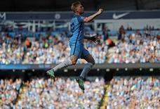 Football Soccer Britain - Manchester City v AFC Bournemouth - Premier League - Etihad Stadium - 17/9/16 Manchester City's Kevin De Bruyne celebrates scoring their first goal  Action Images via Reuters / Carl Recine