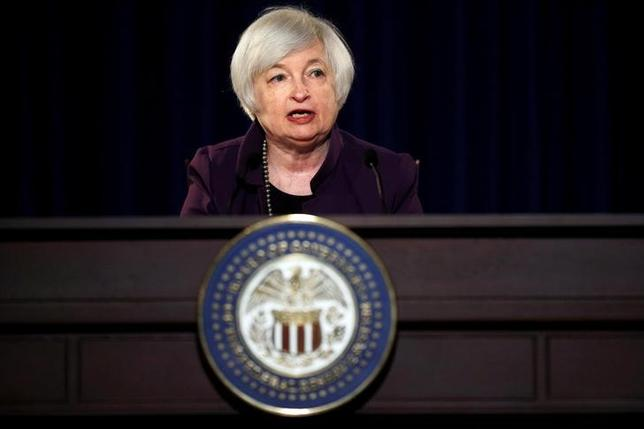 FILE PHOTO --  Federal Reserve Chair Janet Yellen attends a news conference after chairing the second day of a two-day meeting of the Federal Open Market Committee to set interest rates in Washington, DC, U.S. on June 17, 2015.  REUTERS/Carlos Barria/File Photo