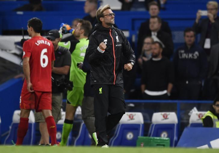 Britain Football Soccer - Chelsea v Liverpool - Premier League - Stamford Bridge - 16/9/16Liverpool manager Juergen Klopp celebrates after the game Reuters / Dylan MartinezLivepic