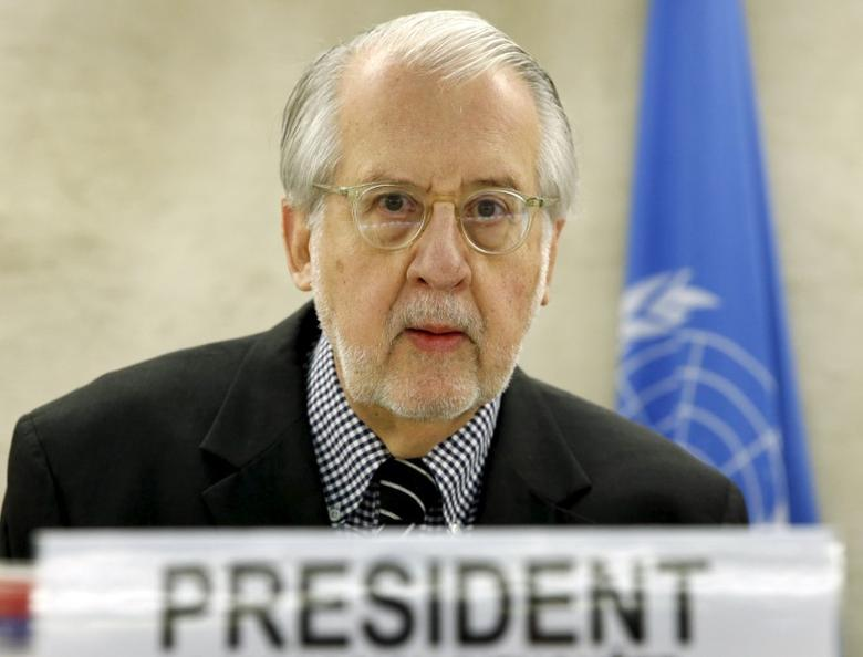 Paulo Pinheiro, Chairperson of the Independent Commission of Inquiry on Syria delivers a statement during the presentation of their report to the Human Rights Council at the United Nations in Geneva, Switzerland, March 15, 2016.  REUTERS/Denis Balibouse