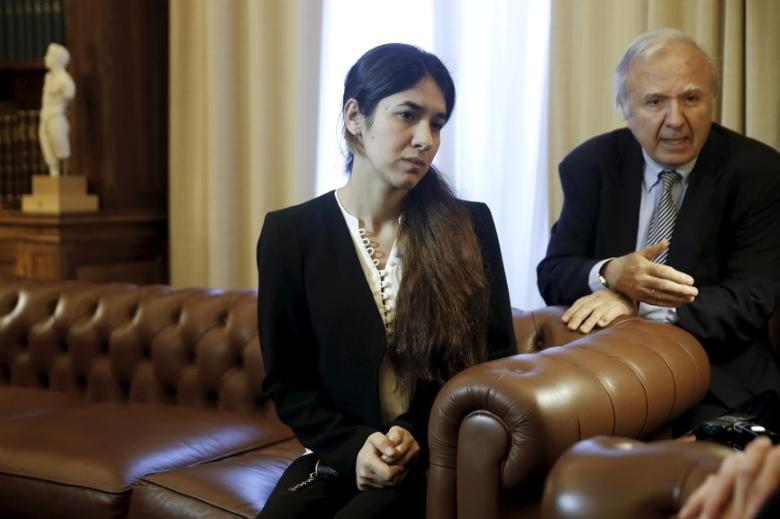 Nadia Murad Basee Taha, an Iraqi woman of the Yazidi faith who was abducted and held by the Islamic State for three months, meets with Greek President Prokopis Pavlopoulos (not pictured) at the Presidential Palace in Athens, Greece, December 30, 2015. REUTERS/Alkis Konstantinidis/Files