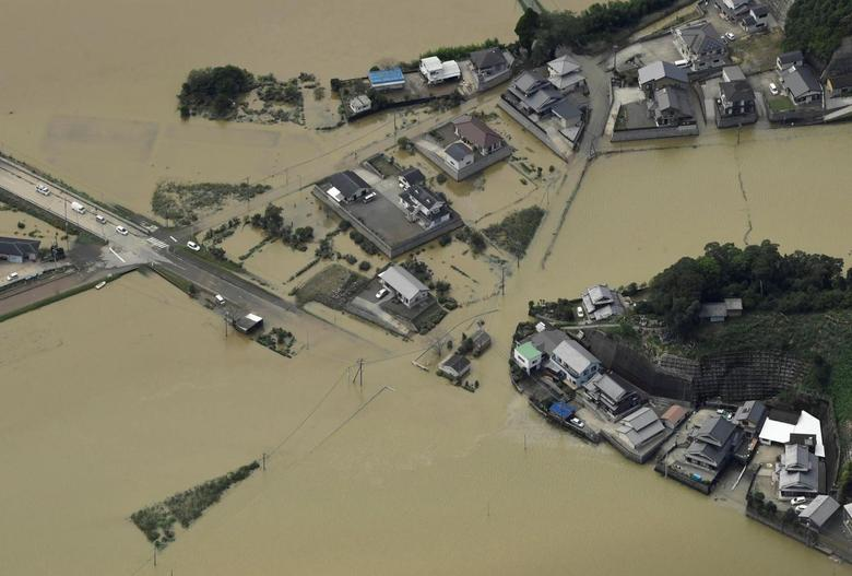 An aerial view shows flooded area due to heavy rains caused by Typhoon Malakas in Nobeoka, Miyazaki Prefecture, southwestern Japan, in this photo taken by Kyodo September 20, 2016.   Mandatory credit Kyodo/via REUTERS