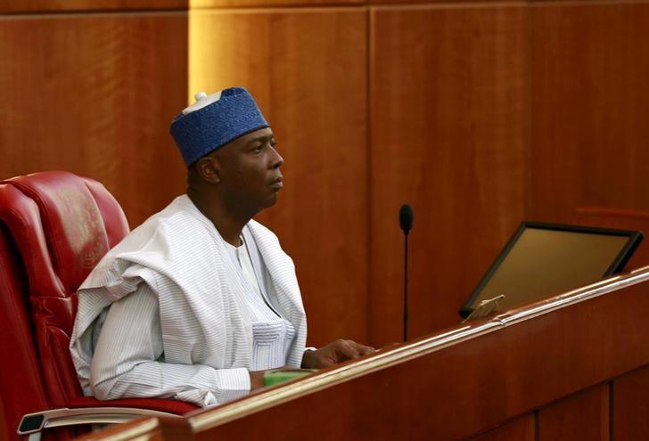 Senator Bukola Saraki looks on after being elected as the senate president of the 8th Nigeria Assembly in Abuja, Nigeria June 9, 2015. REUTERS/Afolabi Sotunde