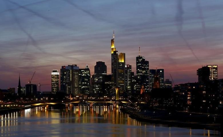 The famous skyline with its banking district is pictured in Frankfurt early evening April 13, 2015.  REUTERS/Kai Pfaffenbach
