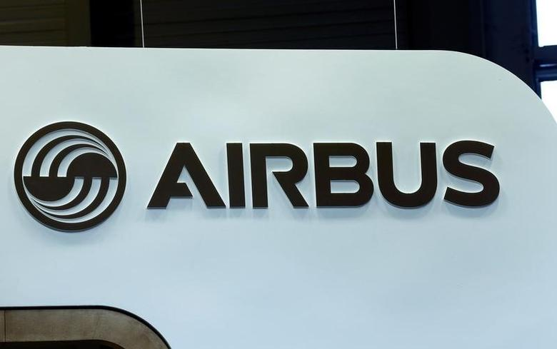 An Airbus logo is pictured on the company booth during the European Business Aviation Convention & Exhibition (EBACE) at Cointrin airport in Geneva, Switzerland, May 24, 2016.  REUTERS/Denis Balibouse/Files