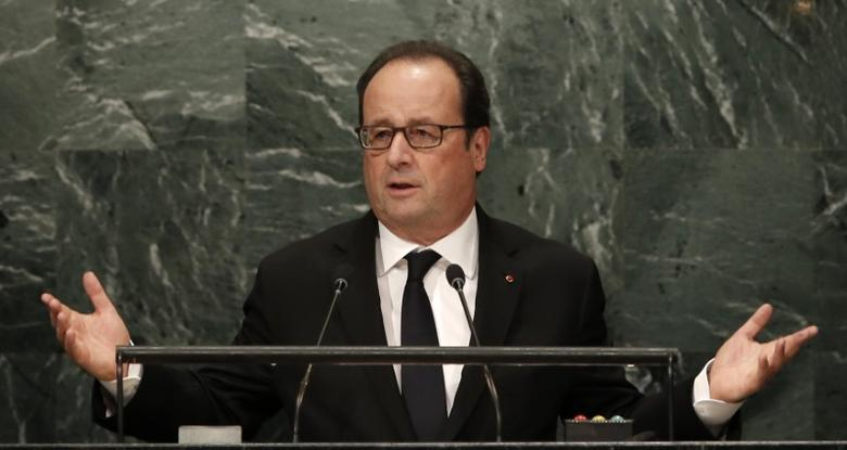 French President Francois Hollande addresses the 71st United Nations General Assembly in Manhattan, New York, U.S. September 20,  2016. REUTERS/Mike Segar