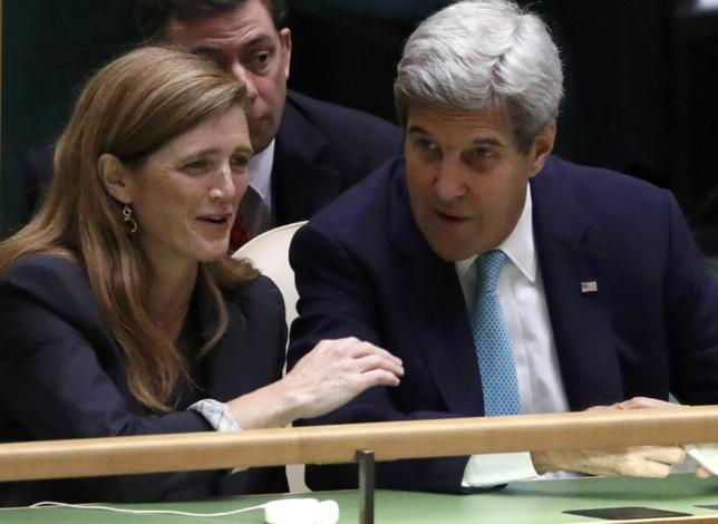 United States Ambassador to the United Nations Samantha Power and U.S. Secretary General John Kerry confer in the United Nations General Assembly Hall during the 71st United Nations General Assembly in Manhattan, New York, U.S. September 20,  2016. REUTERS/Lucas Jackson
