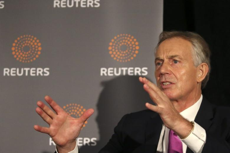 Former British Prime Minister Tony Blair speaks as Reuters Editor-at-Large Sir Harold Evans (not pictured) moderates a Reuters Newsmaker conversation ''Politics on the Edge,'' in Manhattan, New York, U.S., September 20, 2016. REUTERS/Bria Webb