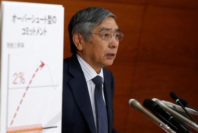 9月21日、日銀は、金融政策決定会合で過去3年半の大規模な金融緩和の「総括的な検証」を行った結果、金融緩和の度合いをこれまでのマネタリーベース(資金供給量)から利回り曲線(イールドカーブ)に変更する大幅な枠組みの修正に踏み切った。写真は会見する黒田総裁(2016年 ロイター/Toru Hanai)