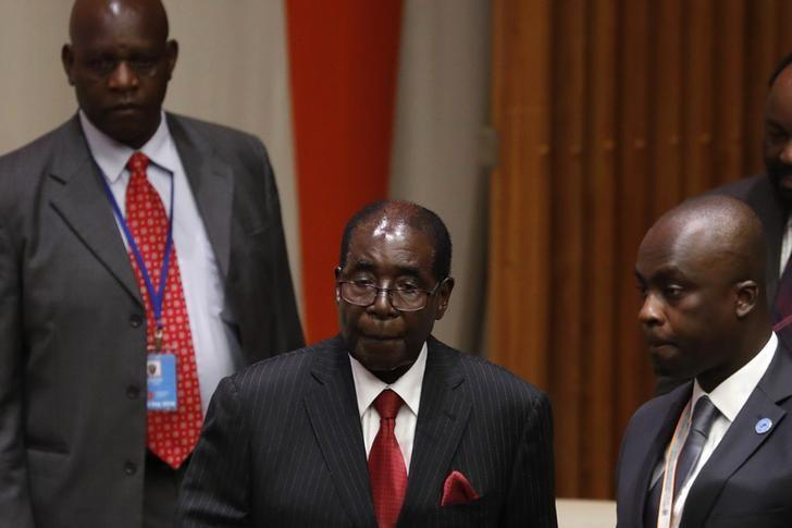 President Robert Mugabe of Zimbabwe prepares to speak during a high-level meeting on addressing large movements of refugees and migrants at the United Nations General Assembly in Manhattan, New York, U.S., September 19, 2016. REUTERS/Lucas Jackson
