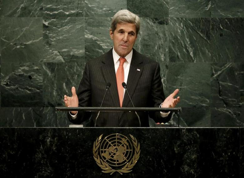 U.S. Secretary of State John Kerry addresses delegates at a special ''High-Level Event on Entry into Force of the Paris Agreement on Climate Change'' meeting held before the start of the United Nations General Assembly debate at U.N. headquarters in the Manhattan borough of New York, U.S., September 21, 2016.  REUTERS/Mike Segar