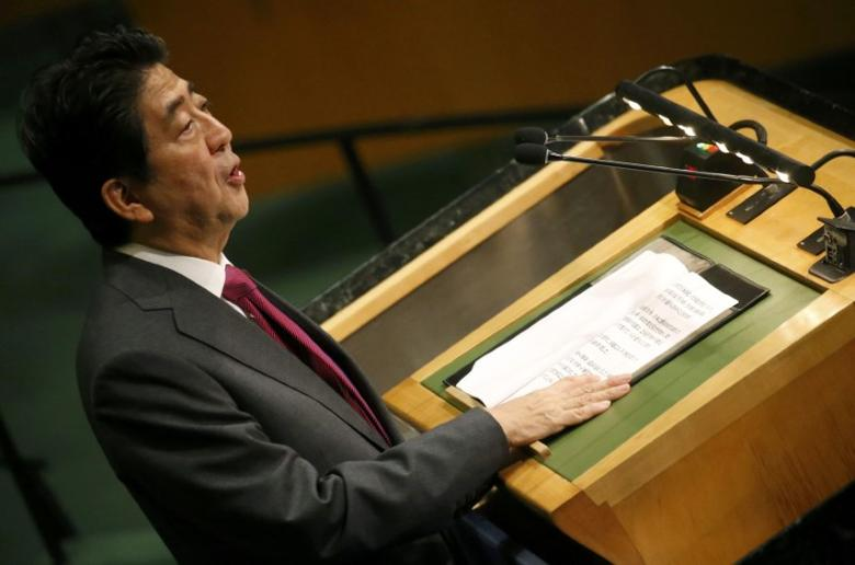 Japanese Prime Minister Shinzo Abe addresses the 71st United Nations General Assembly in Manhattan, New York, U.S. September 21, 2016. REUTERS/Carlo Allegri