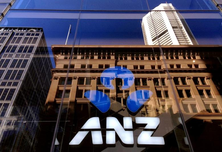 The logo of the ANZ Banking Group is displayed in the window of a newly opened branch in central Sydney, Australia, Aprl 30, 2016. REUTERS/David Gray/File Photo