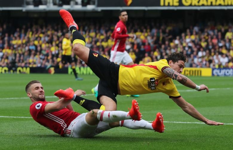 Britain Football Soccer - Watford v Manchester United - Premier League - Vicarage Road - 18/9/16Watford's Daryl Janmaat in action with Manchester United's Luke Shaw Reuters / Eddie KeoghLivepic