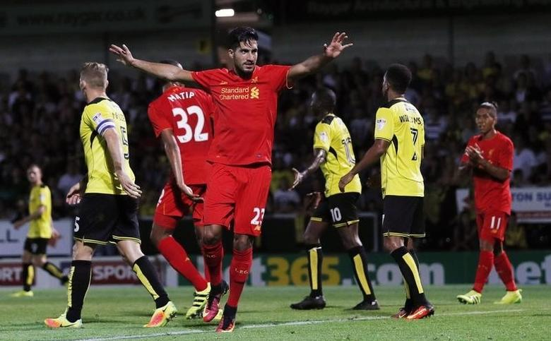 Football Soccer Britain - Burton Albion v Liverpool - EFL Cup Second Round - Pirelli Stadium - 23/8/16Liverpool's Emre Can celebrates after Burton Albion's Tom Naylor (not pictured) scores an own goal and Liverpool's thirdAction Images via Reuters / Lee SmithLivepic