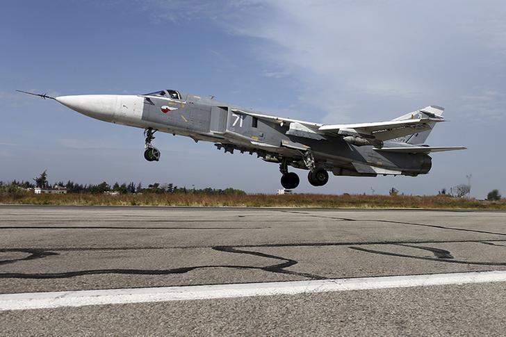 FILES - A Sukhoi Su-24 fighter jet takes off from the Hmeymim air base near Latakia, Syria, in this handout photograph released by Russia's Defence Ministry on October 22, 2015. REUTERS/Ministry of Defence of the Russian Federation/Handout via Reuters