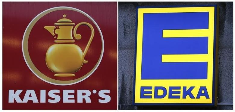 A combination of two pictures show the logo of grocery chain Kaiser's (L) and Edeka in Berlin, Germany, January 12, 2016. REUTERS/Fabrizio Bensch/File Photo - RTSHJ94