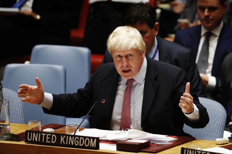 British Foreign Secretary Boris Johnson speaks at a meeting of the United Nations Security Council to address the situation in the Middle East during the General Assembly for the 71st session of the U.N. General Assembly at U.N. headquarters in New York, U.S., September 21, 2016. REUTERS/Lucas Jackson