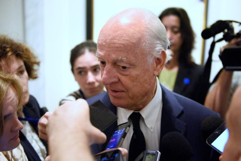 United Nations Special Envoy for Syria Staffan de Mistura speaks to press after attending the International Syria Support Group Meeting at the Palace Hotel in Manhattan, New York, U.S., September 20, 2016.  REUTERS/Darren Ornitz
