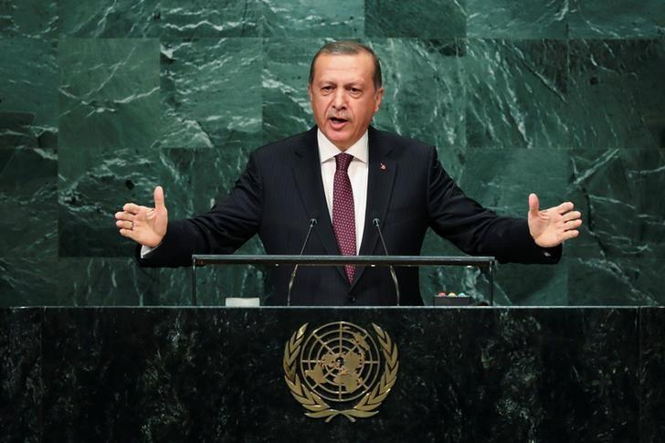 Turkish President Recep Tayyip Erdogan addresses the United Nations General Assembly in the Manhattan borough of New York, U.S. September 20, 2016.   REUTERS/Eduardo Munoz