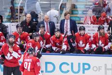 Sep 17, 2016; Toronto, Ontario, Canada; Team Canada head coach Mike Babcock watches from the bench in the second period against Team Czech Republic during preliminary round play in the 2016 World Cup of Hockey at Air Canada Centre. Mandatory Credit: Kevin Sousa-USA TODAY Sports - RTSO7UV