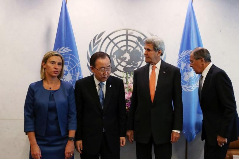 (L to R) High Representative of the European Union for Foreign Affairs and Security Policy Federica Mogherini, United Nations Secretary-General Ban Ki-moon, U.S. Secretary of State John Kerry and Russian Foreign Minister Sergey Lavrov gather before a Middle East Quartet Principals Meeting during <p>To learn more about dresses online visit <a href=