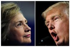Кандидат в президенты США от демократов Хиллари Клинтон выступает в Скрэнтоне, Пенсильвания, 15 августа 2016 года; республиканский кандидат Дональд Трамп участвует в предвыборном мероприятии в Роаноке, Вирджиния, 24 сентября 2016 года. Кандидат в президенты от демократов Хиллари Клинтон и республиканец Дональд Трамп в понедельник вечером впервые сойдутся лицом к лицу на предвкушаемых Америкой теледебатах, способных стать ключевым событием в истории страны. REUTERS/Charles Mostoller/Jonathan Ernst/Files