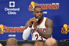 Sep 26, 2016; Cleveland, OH, USA; Cleveland Cavaliers forward LeBron James (23) talks to the media during media day at Cleveland Clinic Courts. Mandatory Credit: Ken Blaze-USA TODAY Sports