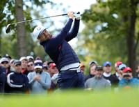 Sep 27, 2016; Chaska, MN, USA;  Ryan Moore of the United States plays his shot from the sixth tee during a practice for the 41st Ryder Cup at Hazeltine National Golf Club. Mandatory Credit: Rob Schumacher-USA TODAY Sports