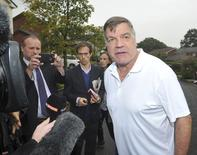 Former England soccer manager Sam Allardyce speaks to media as he leaves his home in Bolton, Britain September 28, 2016.   REUTERS/Chris Neill