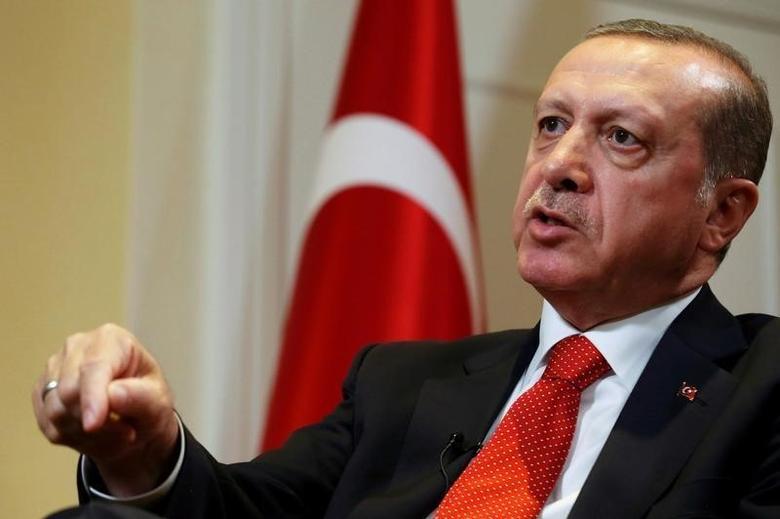 Turkish President Tayyip Erdogan speaks during an interview in New York City, U.S. September 19, 2016.  REUTERS/Brendan McDermid