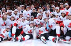 Sep 29, 2016; Toronto, Ontario, Canada; Team Canada players pose for a team photo after defeating Team Europe in game two of the World Cup of Hockey final at Air Canada Centre. Mandatory Credit: Bruce Bennett/Pool Photo via USA TODAY Sports