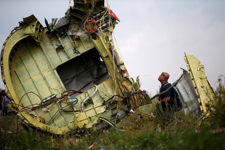A Malaysian air crash investigator inspects the crash site of Malaysia Airlines Flight MH17, near the village of Hrabove (Grabovo) in Donetsk region, Ukraine, July 22, 2014.  REUTERS/Maxim Zmeyev/File Photo