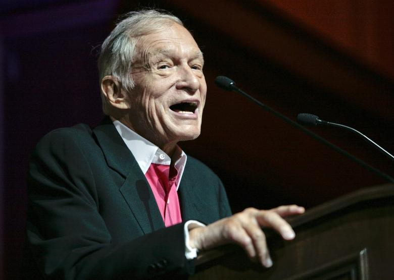 Hugh Hefner, founder, editor-in-chief and creative officer of Playboy, speaks as he is honored with the Hollywood Distinguished Service Award in Memory of Johnny Grant by the Hollywood Chamber of Commerce in Hollywood, California June 7, 2012. REUTERS/Jason Redmond