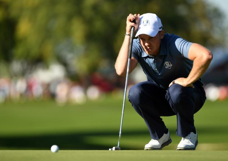 Sep 30, 2016; Chaska, MN, USA;  Danny Willett of England lines up a putt on the 11th green in the afternoon four-ball matches during the 41st Ryder Cup at Hazeltine National Golf Club. Mandatory Credit: John David Mercer-USA TODAY Sports