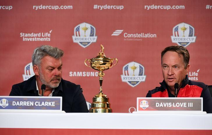 Sep 26, 2016; Chaska, MN, USA;  Europe team captain Darren Clarke (left) and Team USA captain Davis Love III during the captains press conference ahead of the 41st Ryder Cup at Hazeltine National Golf Club. John David Mercer-USA TODAY Sports